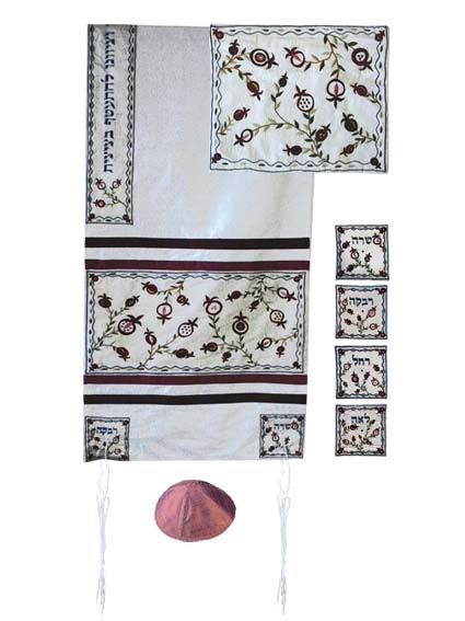 Silk Appliqued Tallit - The Matriarchs-White