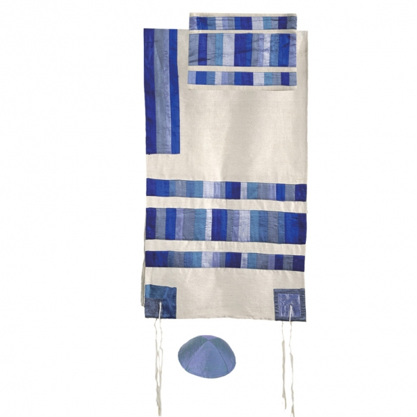 Silk Tallit with Appliqued Stripes-Blue