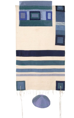 Silk Tallit with Modern Stripes-Blue