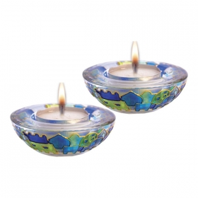 Glass Candle Holders - Blue Jerusalem