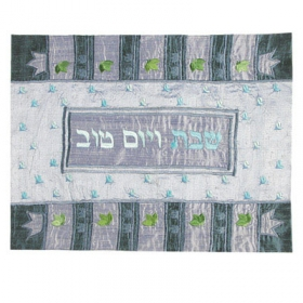 Challah Cover - Raw Silk Applique'd with Crown Design-Blue