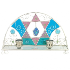 Stained Glass Candlesticks - Star of David with Hanging Hamsa