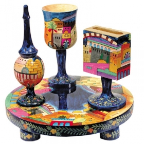 Havdalah Set - Wooden Hand Painted - Jerusalem Design