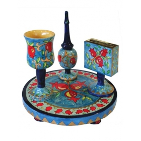 Havdalah Set - Wooden Hand Painted - Pomegranate Design