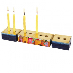 Hanukkah Menorah and Shabbat Candle Sticks - Jerusalem Design