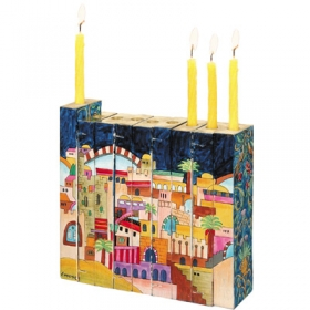 Accordian Hanukkah Menorah - Jerusalem Design