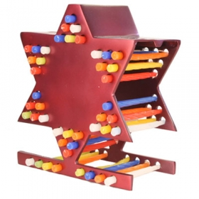 Star of David Hanukkah Menorah - Unique Candle Storage - Maroon