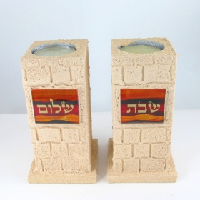 Large Handmade Shabbat Candlesticks - Red