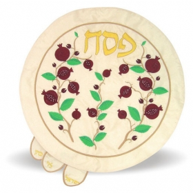 Embroidered Matzah Cover - Flowers
