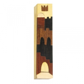 Inlaid Wooden Mezuzah - Jerusalem Brown