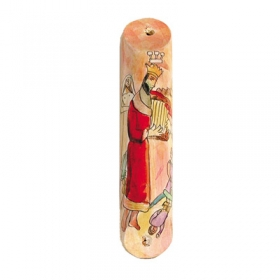 Wooden Mezuzah - David's Harp