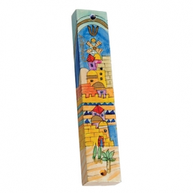 Wooden Mezuzah - Jerusalem Windmill