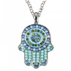 Hamsa Pendant with Beads-Blue