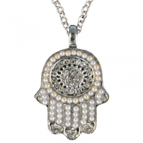 Hamsa Pendant with Beads-White