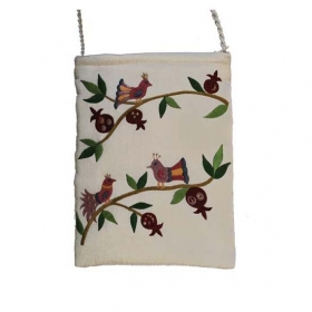 Embroidered Bag with Birds - White