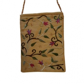Embroidered Bag with Flowers - Gold