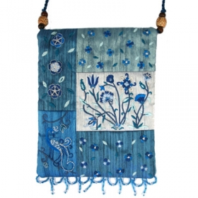 Raw Silk Bag - Flowers - Blue