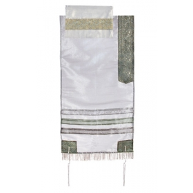 Organza Tallit with Stripes-Gray