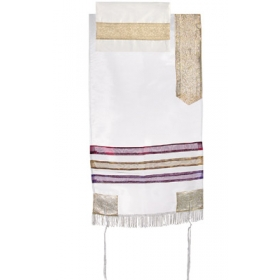 Organza Tallit with Stripes-Gold on White