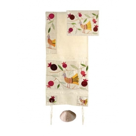 Silk Appliqued Tallit - Birds-White