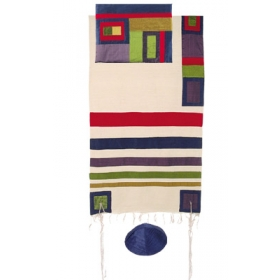 Silk Tallit with Modern Stripes-Multicolor
