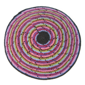 Multicolor Hand Knitted Kippa -Yarmulke Purple Theme